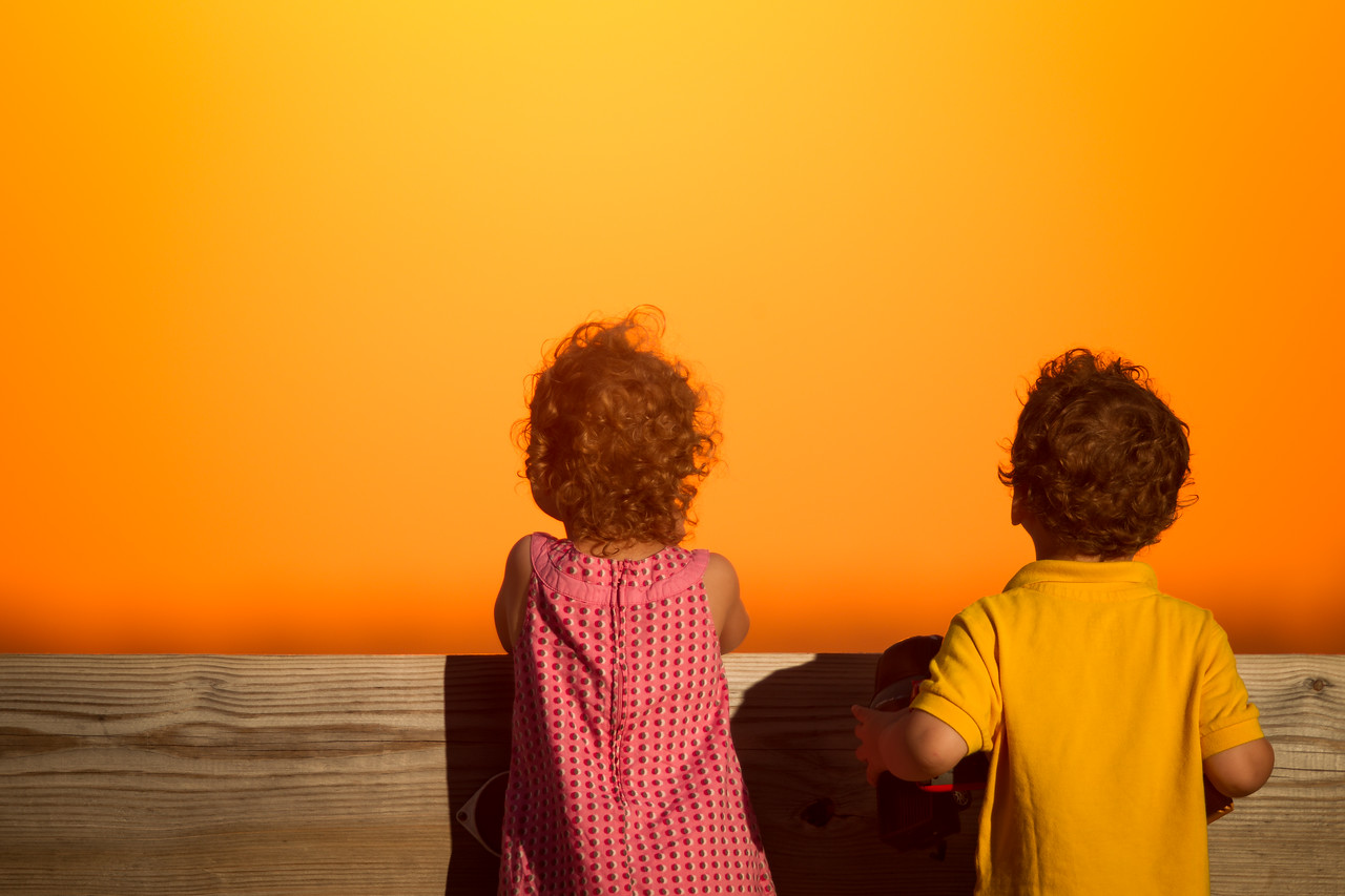 Julia and Lucas admiring the sunset