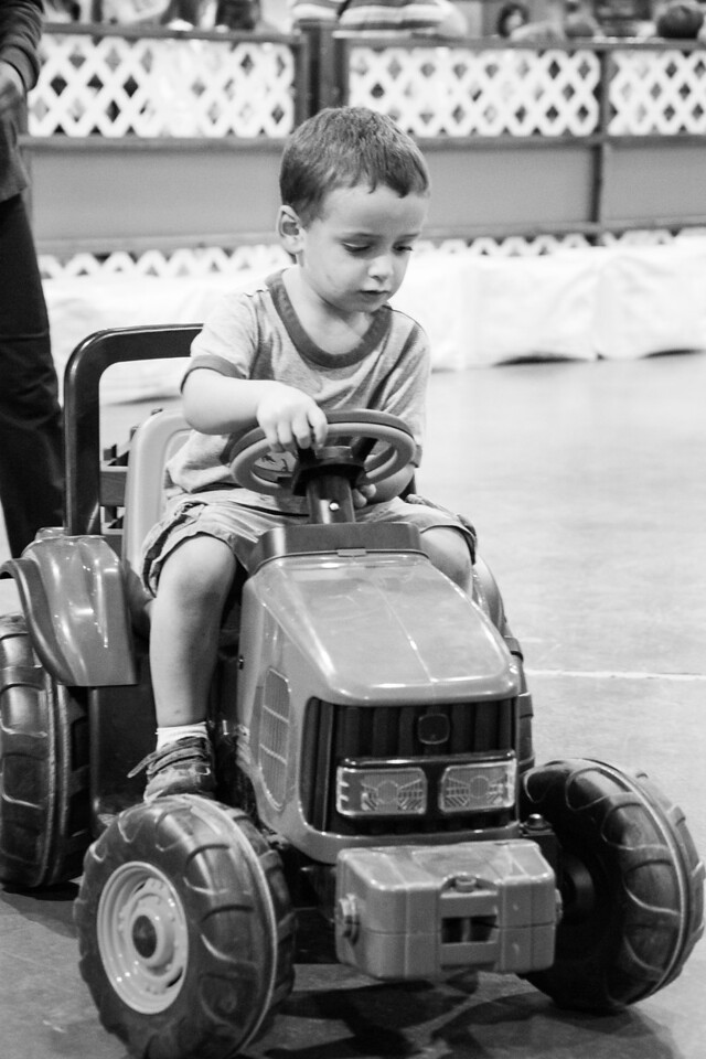 Driving a tractor at the Expo