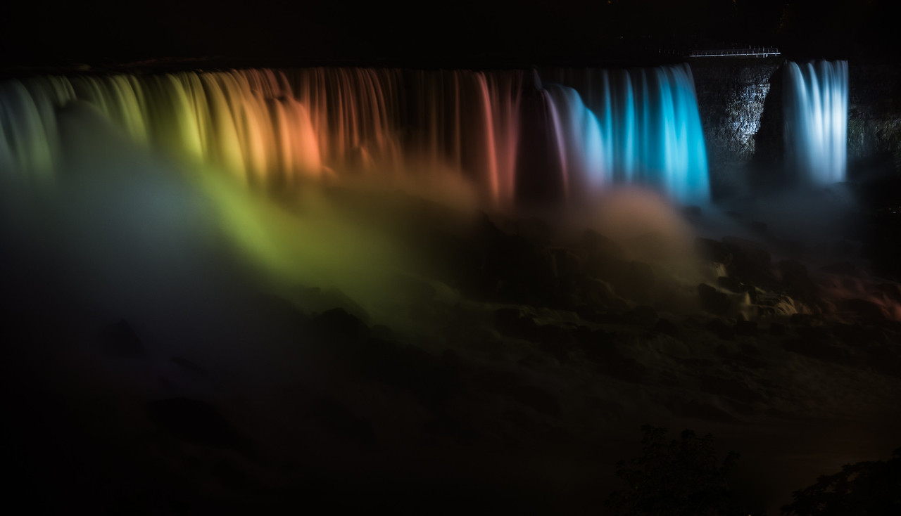 American and Bridal Veil Falls Iluminated at Night